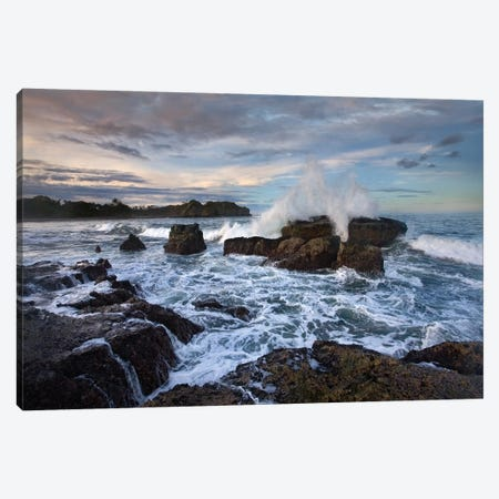Surf Hitting Rocky Coastline, Pelada Beach, Costa Rica Canvas Print #TFI1069} by Tim Fitzharris Canvas Art Print