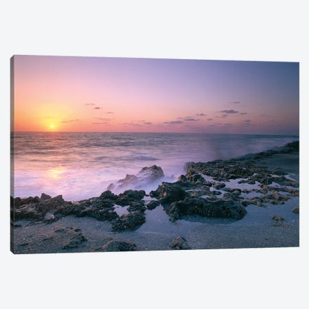 Blowing Rocks Preserve At Sunset, Jupiter Island, Eastern Florida Canvas Print #TFI106} by Tim Fitzharris Canvas Art