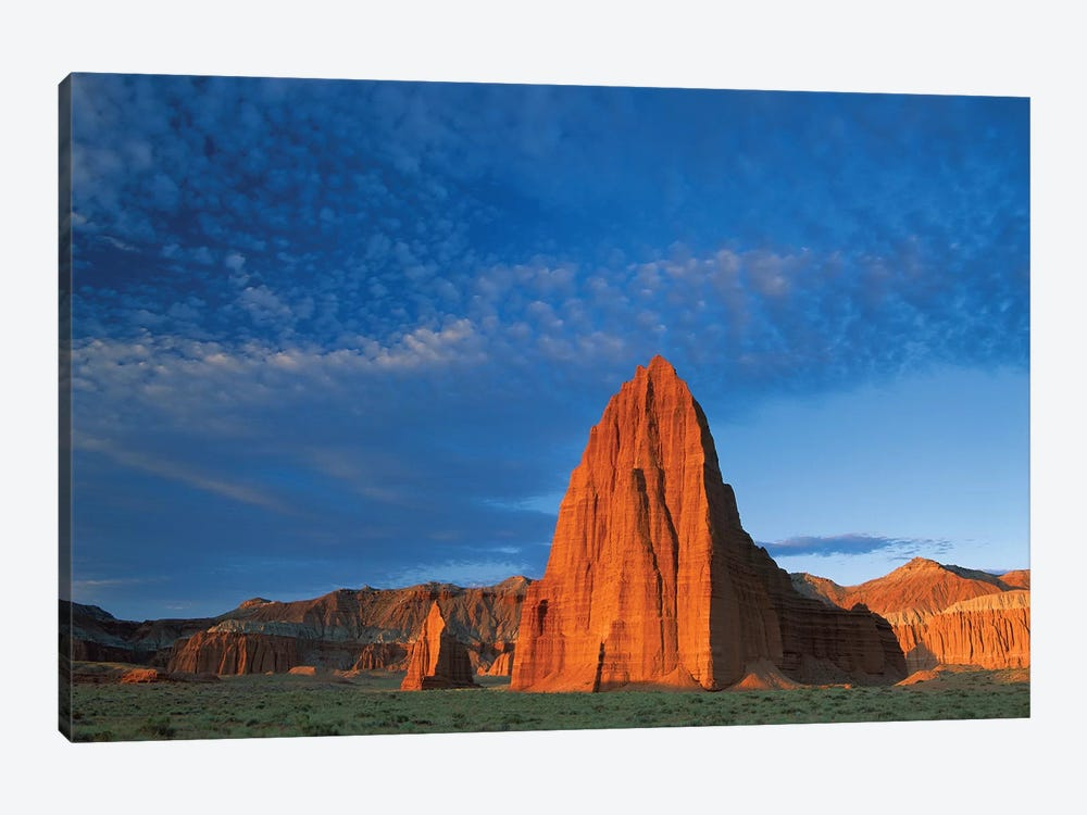 Temples Of The Sun And Moon In Cathedral Valley, The Monolith Is Made Of Entrada Sandstone, Capitol Reef National Park, Utah 1-piece Canvas Art Print