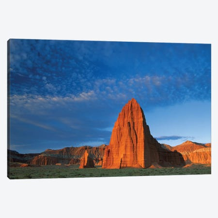 Temples Of The Sun And Moon In Cathedral Valley, The Monolith Is Made Of Entrada Sandstone, Capitol Reef National Park, Utah 3-Piece Canvas #TFI1080} by Tim Fitzharris Canvas Print