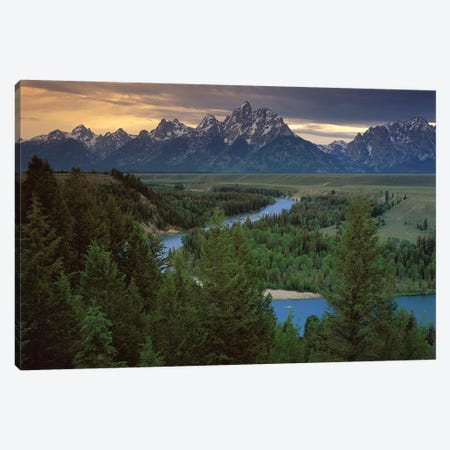 Teton Range At Snake River Overlook, Grand Teton National Park, Wyoming Canvas Print #TFI1081} by Tim Fitzharris Art Print