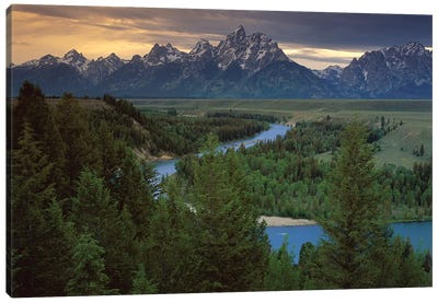Teton Range At Snake River Overlook, Grand Teton National Park, Wyoming Canvas Art Print