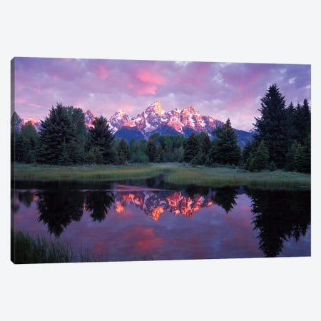 Teton Range At Sunrise, Schwabacher Landing, Grand Teton National Park, Wyoming Canvas Print #TFI1082} by Tim Fitzharris Canvas Art Print