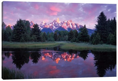 Teton Range At Sunrise, Schwabacher Landing, Grand Teton National Park, Wyoming Canvas Art Print