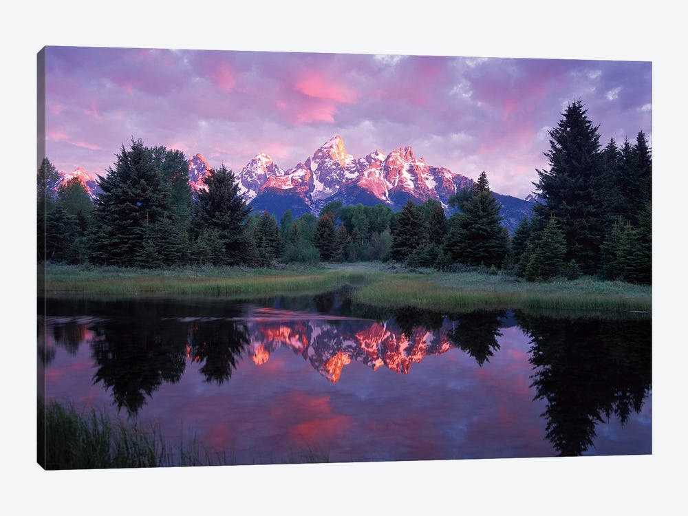 Teton Range At Sunrise, Schwabacher Landing, Grand Teton National Park, Wyoming 1-piece Canvas Art Print