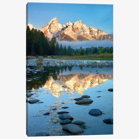 Teton Range Reflected In Water, Grand Teton National Park, Wyoming Canvas Print #TFI1083} by Tim Fitzharris Art Print
