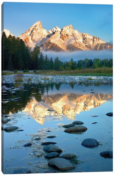 Teton Range Reflected In Water, Grand Teton National Park, Wyoming Canvas Art Print