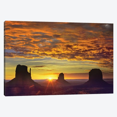 The Mittens And Merrick Butte At Sunrise, Monument Valley, Arizona Canvas Print #TFI1085} by Tim Fitzharris Canvas Wall Art