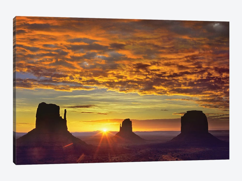 The Mittens And Merrick Butte At Sunrise, Monument Valley, Arizona by Tim Fitzharris 1-piece Canvas Artwork