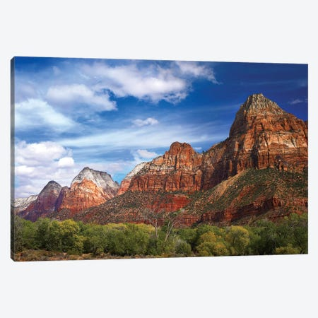 The Watchman, Outcropping Near South Entrance Of Zion National Park, Cottonwoods In Foreground, Utah Canvas Print #TFI1088} by Tim Fitzharris Art Print