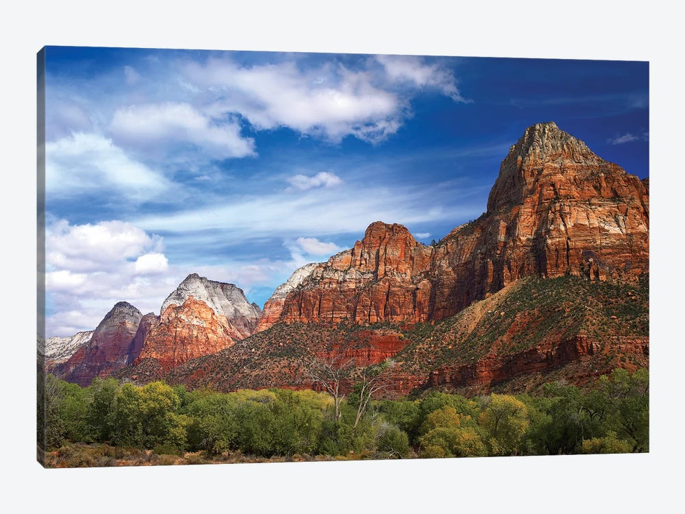 The Watchman, Outcropping Near South Entrance Of Zion National Park, Cottonwoods In Foreground, Utah by Tim Fitzharris 1-piece Canvas Print
