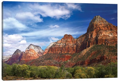 The Watchman, Outcropping Near South Entrance Of Zion National Park, Cottonwoods In Foreground, Utah Canvas Art Print