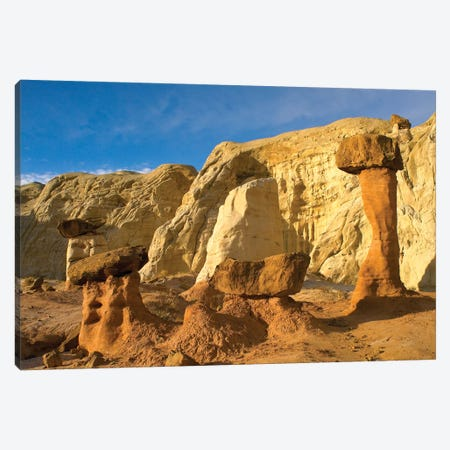 Toadstool Caprocks, Grand Staircase, Escalante National Monument, Utah 3-Piece Canvas #TFI1099} by Tim Fitzharris Canvas Wall Art