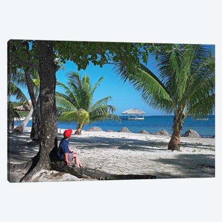 Tourist Resting Under Palm Trees On Beach At Palmetto Bay, Roatan Island, Honduras Canvas Print #TFI1104} by Tim Fitzharris Art Print
