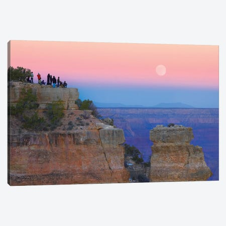 Tourists Enjoying Sunset And Rising Full Moon At Yaki Point, Grand Canyon National Park, Arizona Canvas Print #TFI1106} by Tim Fitzharris Canvas Print