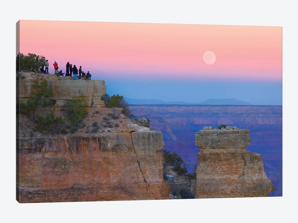 Tourists Enjoying Sunset And Rising Full Moon At Yaki Point, Grand Canyon National Park, Arizona by Tim Fitzharris 1-piece Canvas Artwork