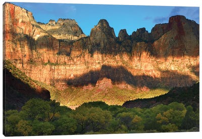 Towers Of The Virgin With Cloud Shadows, Zion National Park, Utah Canvas Art Print