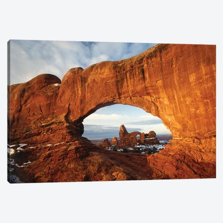 Turret Arch Through North Window Arch, Arches National Park, Utah Canvas Print #TFI1116} by Tim Fitzharris Canvas Art