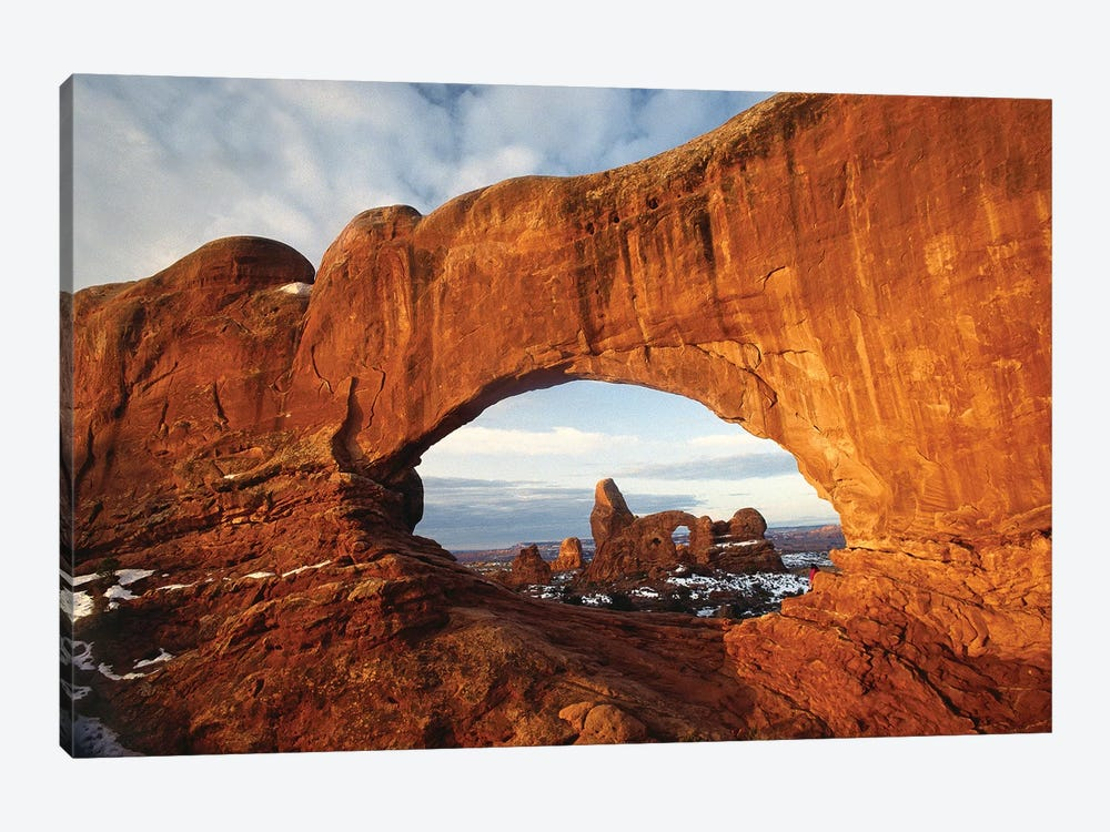 Turret Arch Through North Window Arch, Arches National Park, Utah 1-piece Canvas Art Print