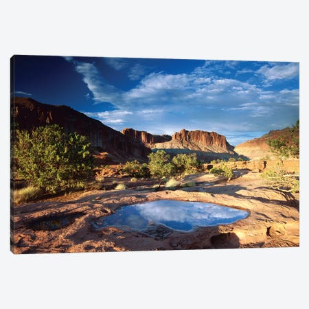 Water Pothole At Panorama Point, Capitol Reef National Park, Utah 3-Piece Canvas #TFI1128} by Tim Fitzharris Canvas Art