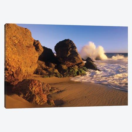 Waves Crashing On Point Dume Beach, California Canvas Print #TFI1139} by Tim Fitzharris Art Print