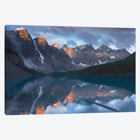 Wenkchemna Peaks Reflected In Moraine Lake, Valley Of Ten Peaks, Banff National Park, Alberta, Canada Canvas Print #TFI1142} by Tim Fitzharris Canvas Wall Art