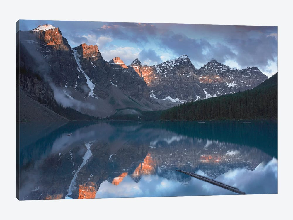 Wenkchemna Peaks Reflected In Moraine Lake, Valley Of Ten Peaks, Banff National Park, Alberta, Canada by Tim Fitzharris 1-piece Canvas Wall Art