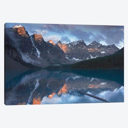 Wenkchemna Peaks Reflected In Moraine Lake, Valley Of Ten Peaks, Banff National Park, Alberta, Canada Canvas Print #TFI1142} by Tim Fitzharris Canvas Wall Art