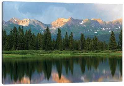 West Needle Mountains Reflected In Molas Lake, Weminuche Wilderness, Colorado Canvas Art Print