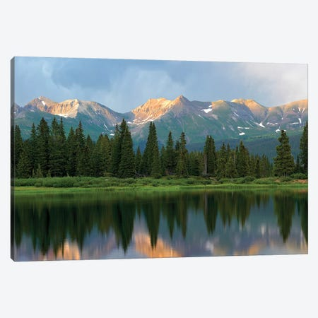 West Needle Mountains Reflected In Molas Lake, Weminuche Wilderness, Colorado Canvas Print #TFI1143} by Tim Fitzharris Canvas Art
