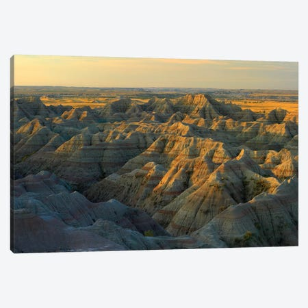 White River Overlook Showing Sandstone Striations And Erosional Features, Badlands National Park, South Dakota Canvas Print #TFI1150} by Tim Fitzharris Canvas Print