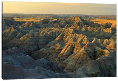 White River Overlook Showing Sandstone Striations And Erosional Features, Badlands National Park, South Dakota Canvas Art Print