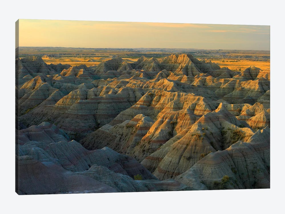 White River Overlook Showing Sandstone Striations And Erosional Features, Badlands National Park, South Dakota by Tim Fitzharris 1-piece Canvas Print
