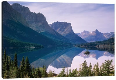 Wild Goose Island In St Mary's Lake, Glacier National Park, Montana Canvas Art Print