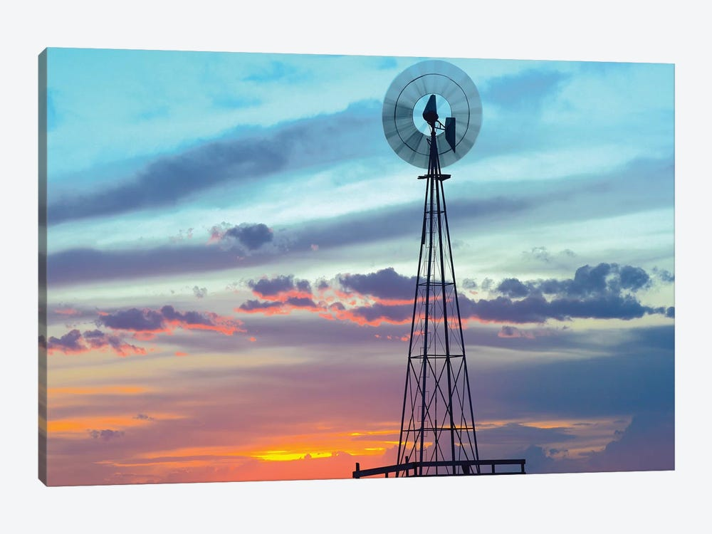 Windmill Producing Electricity At Sunset; Example Of Renewable Energy, North America by Tim Fitzharris 1-piece Art Print
