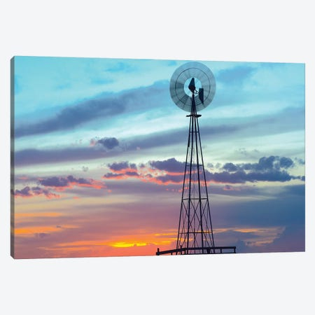 Windmill Producing Electricity At Sunset; Example Of Renewable Energy, North America Canvas Print #TFI1172} by Tim Fitzharris Canvas Art Print