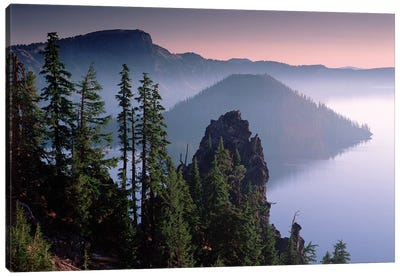 Wizard Island In The Center Of Crater Lake, Crater Lake National Park, Oregon Canvas Art Print