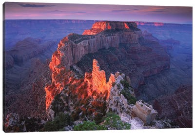 Wotans Throne At Sunrise From Cape Royal, Grand Canyon National Park, Arizona Canvas Art Print