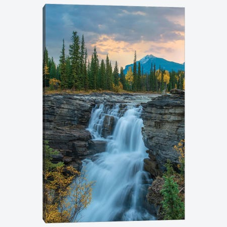 Athabasca Falls And Mount Fryatt, Rocky Mountains, Jasper National Park, Alberta, Canada Canvas Print #TFI1195} by Tim Fitzharris Canvas Artwork