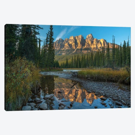 Castle Mountain Reflected In Athabasca River, Banff National Park, Alberta, Canada Canvas Print #TFI1200} by Tim Fitzharris Canvas Art Print