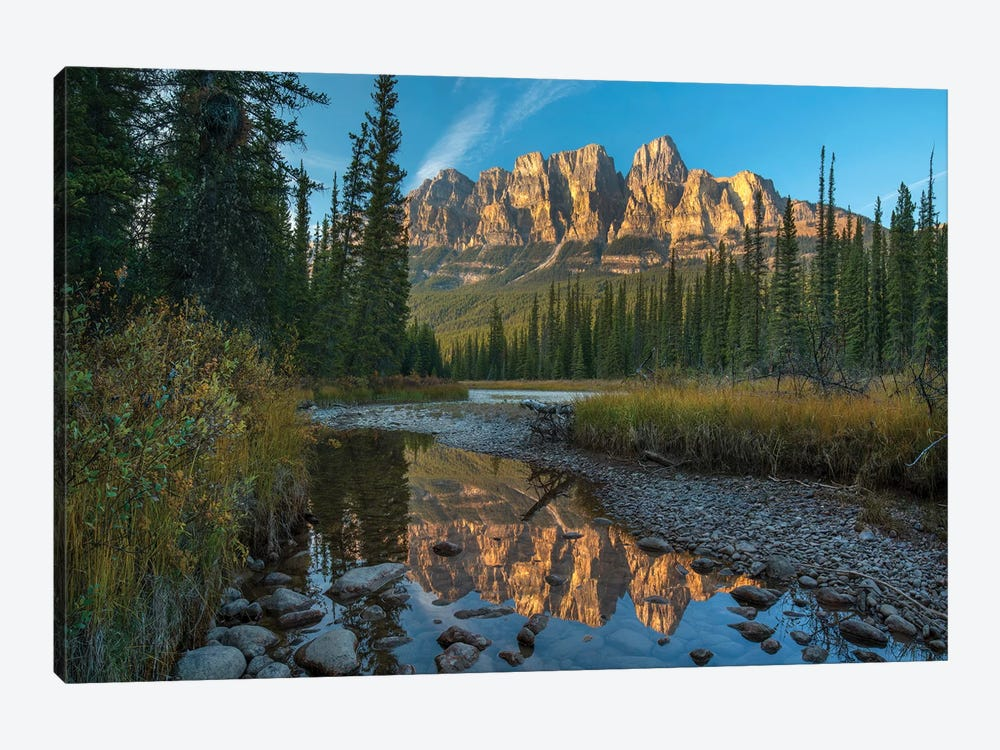 Castle Mountain Reflected In Athabasca River, Banff National Park, Alberta, Canada by Tim Fitzharris 1-piece Canvas Artwork