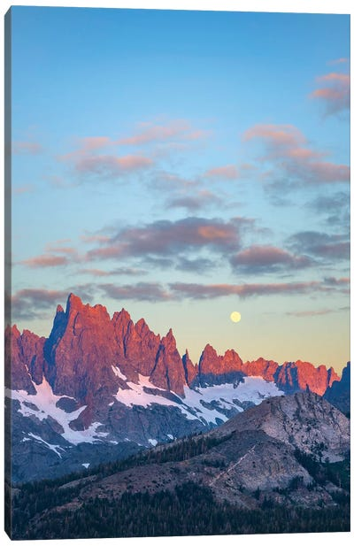 Moon Over Peaks, Ritter Range, Sierra Nevada, California Canvas Art Print