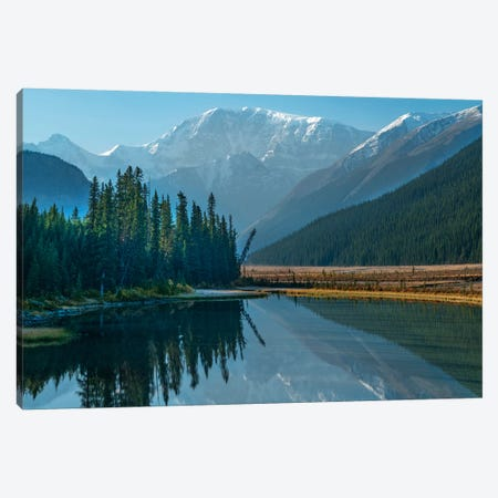 Mount Kitchener Reflected In Athabasca River, Icefields Parkway, Alberta, Canada Canvas Print #TFI1212} by Tim Fitzharris Canvas Wall Art