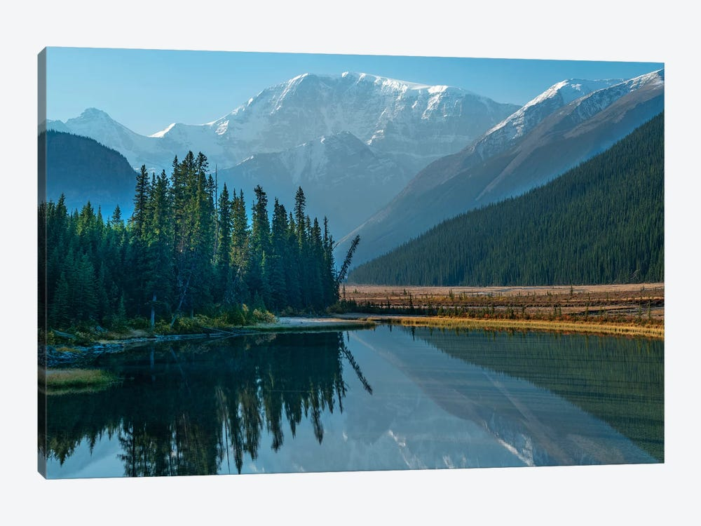 Mount Kitchener Reflected In Athabasca River, Icefields Parkway, Alberta, Canada by Tim Fitzharris 1-piece Canvas Art Print