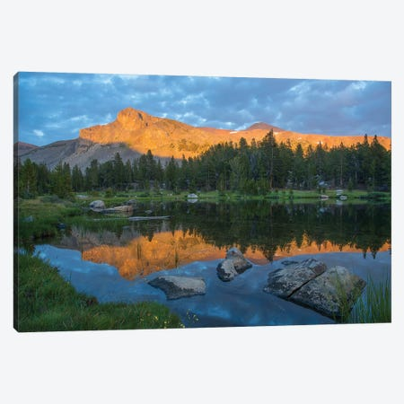 Mountain Reflected In Alpine Lake, Mount Dana, Tioga Pass, Sierra Nevada, Yosemite National Park, California Canvas Print #TFI1213} by Tim Fitzharris Canvas Art