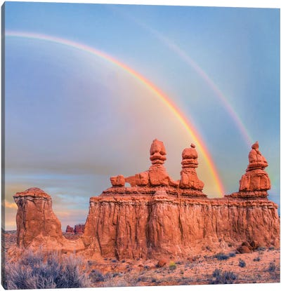 Rainbow Over Rock Formation Called The Three Judges, Goblin Valley State Park, Utah Canvas Art Print