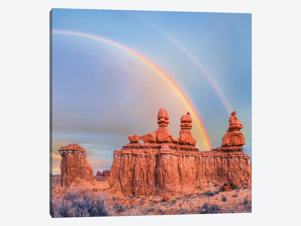Rainbow Over Rock Formation Called The Three Judges, Goblin Valley State Park, Utah by Tim Fitzharris 1-piece Canvas Art
