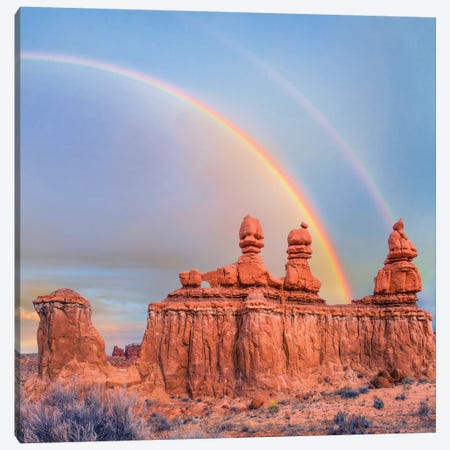 Rainbow Over Rock Formation Called The Three Judges, Goblin Valley State Park, Utah Canvas Print #TFI1219} by Tim Fitzharris Canvas Artwork