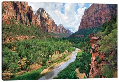 Looking out into the Zion Canyon and the Virgin River, Zion National Park, Utah Canvas Art Print
