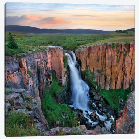Sunset over the North Clear Creek Falls, Rio Grande National Forest, Colorado Canvas Print #TFI1247} by Tim Fitzharris Canvas Artwork